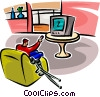 Vector Clip Art image  of a man watching TV with crutches