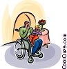 Vector Clip Art graphic  of a father in wheelchair eating apple
