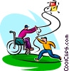 father in a wheelchair flying a kite with his son Vector Clipart image