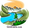 beautiful scene with a river, sunset and mountains Vector Clip Art picture