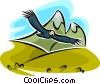 Vector Clip Art image  of a eagle flying with mountains