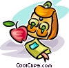 Vector Clipart image  of a school knapsack and apple