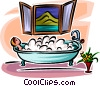 woman relaxing in a bubble bath Vector Clipart illustration