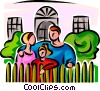 Vector Clip Art image  of a family standing outside of the