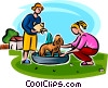 kids washing the puppy Vector Clip Art picture