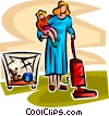 doing housework and looking after children Vector Clipart picture