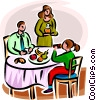 Vector Clip Art graphic  of a family having dinner