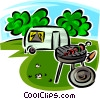 Vector Clipart picture  of a barbecue and camping trailer