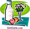 Vector Clipart graphic  of a jar of milk flowers and fruit