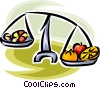 fruit and vegetables on a scale Vector Clip Art image
