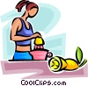 Vector Clip Art graphic  of a woman making freshly squeezed