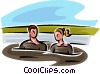 man and a woman in a mud bath Vector Clipart illustration