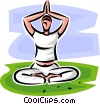 Vector Clip Art graphic  of a woman doing yoga