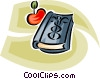 Vector Clipart illustration  of a doctor's book and an apple