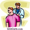 Vector Clip Art image  of a man getting checked over by