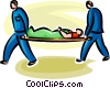 Vector Clip Art image  of a person being carried out on a
