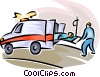 Vector Clip Art image  of a person being loaded into an