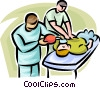 Vector Clip Art graphic  of a doctors performing CPR on a