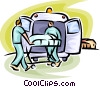 Vector Clip Art graphic  of a person being loaded into an ambulance