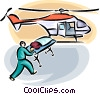person loaded onto air ambulance helicopter Vector Clip Art picture
