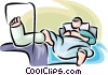 person lying in a hospital bed with a broken leg Vector Clip Art picture