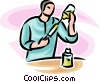 doctor loading a syringe Vector Clipart graphic