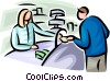 person picking up a prescription from a pharmacist Vector Clip Art graphic