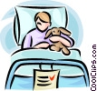child in a hospital bed with a stuffed animal Vector Clipart illustration