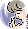 person putting in a contact lens Vector Clipart illustration