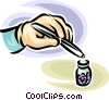 person picking up a pill with tweezers Vector Clip Art picture