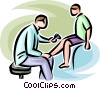 doctor checking a boys reflexes Vector Clipart picture
