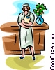 Vector Clip Art graphic  of a nurse with a clipboard