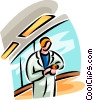 Vector Clipart illustration  of a doctor looking at her watch