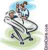 woman in a hospital bed receiving oxygen and an IV Vector Clipart image