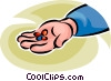 Vector Clipart illustration  of a person with a handful of pills