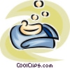 Vector Clip Art image  of a hand soap and bath towel