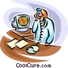 Nurse on the telephone Vector Clip Art picture