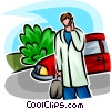 Vector Clipart picture  of a doctor on his cell phone