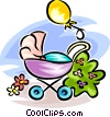 Vector Clip Art graphic  of a baby carriage/stroller