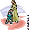 woman pushing a baby stroller Vector Clipart illustration