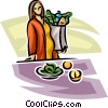 Vector Clip Art picture  of a pregnant woman buying