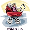 Vector Clip Art image  of a baby carriage