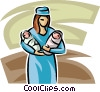 nurse with two newborn babies Vector Clip Art graphic