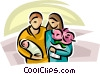 Vector Clipart image  of a parents with a newborn