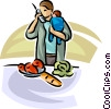 Vector Clipart graphic  of a woman with baby making lunch