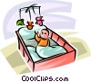 Vector Clipart picture  of a Baby playing in her crib