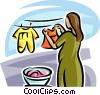 Vector Clip Art image  of a mother hanging clothes on the