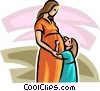 Vector Clip Art graphic  of a pregnant woman with a young