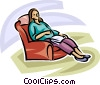 Vector Clip Art graphic  of a pregnant woman relaxing in a