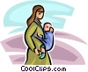 Vector Clipart graphic  of a woman with a baby